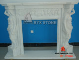 Marble bianco Stone Fireplace con Flower Carving per Indoor Decoration
