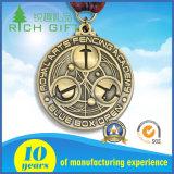 De antieke Zilveren Medaille van het Metaal van de Sport van de Douane van het Verkoperen
