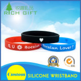 Wristbands de borracha elegantes do silicone dos braceletes de Cutom com logotipo de Debossed