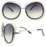 2016 óculos de sol redondos retros novos das senhoras do metal dos vidros de Sun das mulheres do vintage da forma