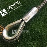Подъемный строп веревочки провода нержавеющей стали с крюками