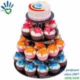 別のサイズの回転アクリル4の皿の円形のカップケーキの立場のケーキの表示