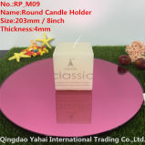 4mm Medium Round Pink Glass Mirror Candle Holder