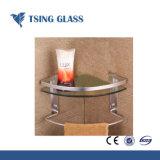 Quart de cercle étagère en verre avec bords polis