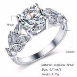 De zilveren Trouwringen van de Bloem van het Kristal van de Kleur voor Vrouwen