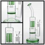 Livraison gratuite en verre verre du tuyau de pipe à eau avec le vert de l'arbre du bras et une couche épaisse Honeycomb de base et l'embout buccal