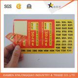 Collant transparent d'adhésif d'impression d'étiquette estampé par papier de code barres de vinyle d'étiquette