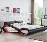 Muebles de cuero del dormitorio de la base de los nuevos diseños C025 con la iluminación del LED