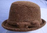 Sombrero de lana tejido jacquard de moda con arco/cuchara Hat Brown