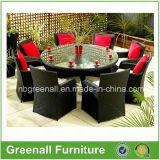 柳細工表および椅子テラスまたは庭の屋外の家具