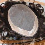 Toupee dei capelli dell'unità di elaborazione del bordo degli uomini brasiliani dei capelli ricci (PPG-l-01359)