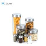 Copo para armazenamento de alimentos de vidro com tampa de aço inoxidável