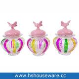 Colorare i mini vasi di vetro a strisce con il coperchio di ceramica della stella