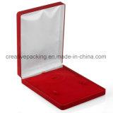 Contenitore di regalo Pendant del velluto dei monili di presentazione della scatola di aggancio della collana degli orecchini rossi del supporto