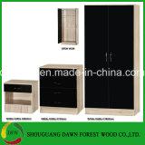 Черная глянцевая и дуба 3 частей набор с двумя спальнями /шкаф грудной клетки /на прикроватном мониторе