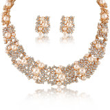 Insieme di cristallo dei monili dell'oro della lega della grande dell'insieme perla magnetica della collana