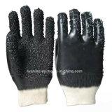 Черный против крупных скольжения резиновые перчатки из ПВХ точек