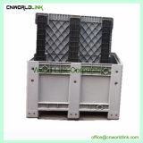 Meilleure vente 1000kg palette plastique HDPE de stockage importante rouleau bac en vrac avec wheelie