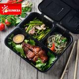 Contenitore di plastica a perdere trasparente di alimento del pranzo dei 2 scompartimenti