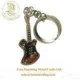 Guitarra personalizada moda flutuante de liga de zinco Keychains gravada em 3D