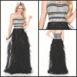 Черное платье вечера Z205 платьев партии выпускного вечера Tulle кристаллический без бретелек