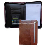 Faux Leather A5 Padfolio avec Zipper Around