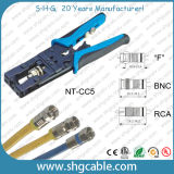 Beruf F BNC RCA 3 in 1 Komprimierung-Hilfsmittel des Koaxialkabel-Rg58 Rg59 RG6
