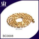 Collar de cadena de color grano de la bola plateado oro al por mayor