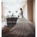 Os vestidos de esfera nupciais Tulle do laço florescem o luxo que perla os vestidos de casamento Z9027