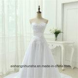 Neue Ankunfts-schnüren sich Chiffon- Robe-Verbindung oben Weinlese-Hochzeits-Kleid