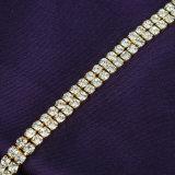 Nuevas pulseras de piedra cristalinas claras plateadas del tenis del oro amarillo del estilo de la manera