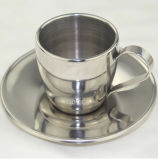 Seguro de salud de taza de café de acero inoxidable 304 con platillo