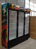 Refrigerador vertical da bebida de três portas com o controlador de temperatura eletrônico