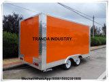 Vrachtwagen van de Keuken van de Catering van de Aanhangwagen van het Karretje van Drin Kfood van de Verkoop van de Straat van het roestvrij staal de Zachte