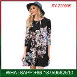 新しい花の印刷の販売のための長い袖のAラインの女性の服