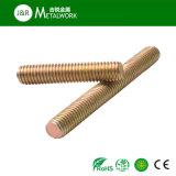 Boulon de goujon d'amorçage d'acier du carbone plein avec jaune galvanisé (DIN976)