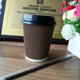 Оптовые кофейные чашки бумаги стены пульсации с крышками