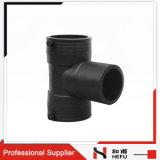 Costume preto plástico do HDPE resistente UV que reduz tamanhos do T da tubulação