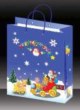 Sac de papier de fantaisie de cadeau avec des traitements, sac de papier de Noël pour la vente en gros de cadeau