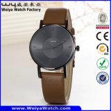 Montre-bracelet occasionnelle de dames de quartz de courroie en cuir de mode d'ODM (Wy-105H)