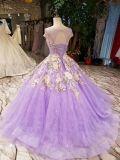 구슬 단단한 결혼식 신부 복장이 자주색 레이스에 의하여 아플리케를 한다