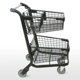 Carrito de compras Cesta Doble de Estilo Americano (ruedas delanteras swivel+las ruedas traseras rígido)