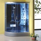 Casa de banho com chuveiro de vapor no interior da bandeja de Alta do canto