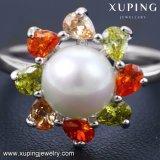 13883 Form-Charme-bunter Frauen-Schmucksache-Finger-Ring mit Perle in der Rhodium-Farbe
