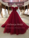 Aoliweiya eine Zeile weg Schulter-vom roten Tulle-Abend-Abschlussball-Kleid