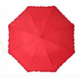 도매 질 싼 23 인치 8K 나무로 되는 손잡이 빨간 결혼식 우산