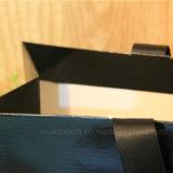 Bolsa de papel brillante del negro de la alta calidad de la laminación de la impresión de la insignia para las compras