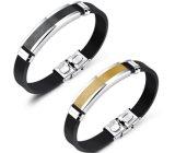 De nieuwe Armband van de Manchet van het Silicone van de Armband van het Roestvrij staal van de Juwelen van de Mannen van de Manier voor Mannen en Vrouwen