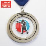 カスタム賞のメタリボンが付いている連続したマラソンのスポーツメダル