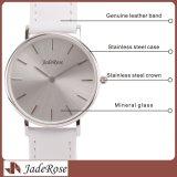 Diseño simple Caja de acero fino Business Watch, resistente al agua Reloj Pulsera de piel
